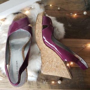 Marc Fisher | Purple Patent Cork Open Toe Wedges